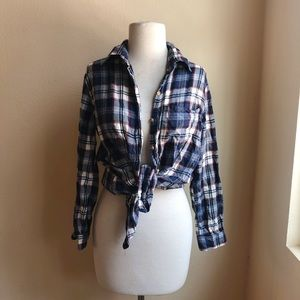 Brandy Melville Blue Plaid Button down shirt